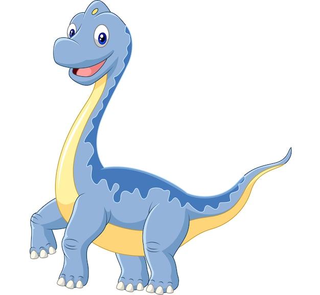 Brachiosaurus del dinosauro del fumetto su fondo bianco Vettore Premium