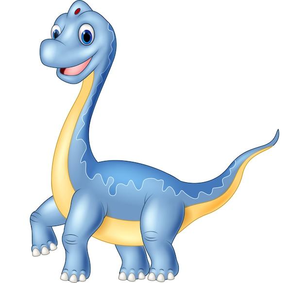 Brachiosaurus gigante del dinosauro su fondo bianco Vettore Premium
