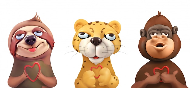 Bradipo, leopardo, scimmia, volti adorabili, personaggi dei cartoni animati. simpatici animali, arte vettoriale Vettore Premium