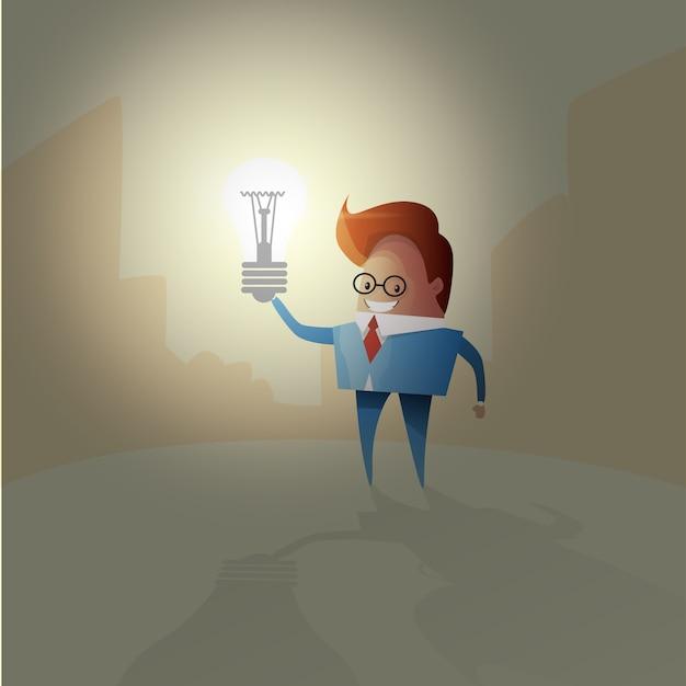 Brainstorm creativo della lampadina di concetto di idea dell'uomo di affari nuovo Vettore Premium