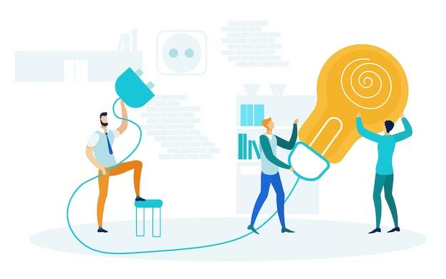 Brainstorm, startup launch vector illustration Vettore Premium