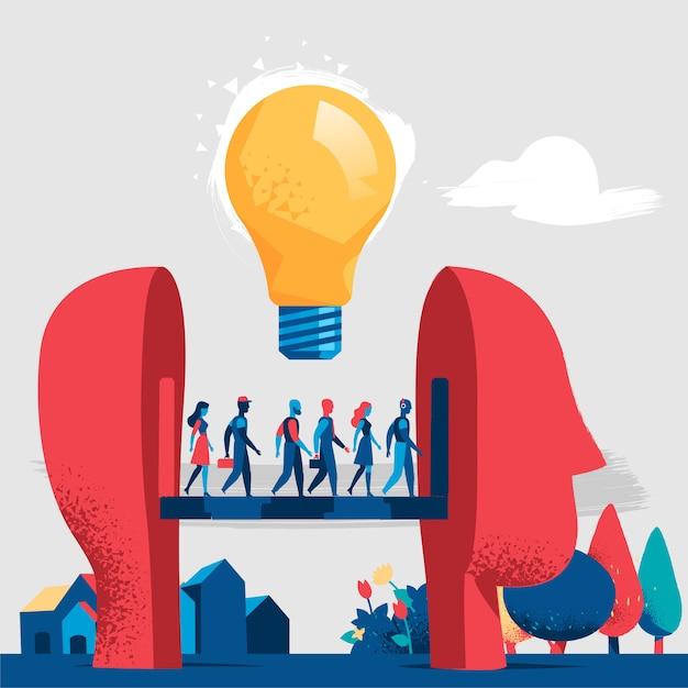 Brainstormin, connessioni mentali e nuove idee Vettore Premium