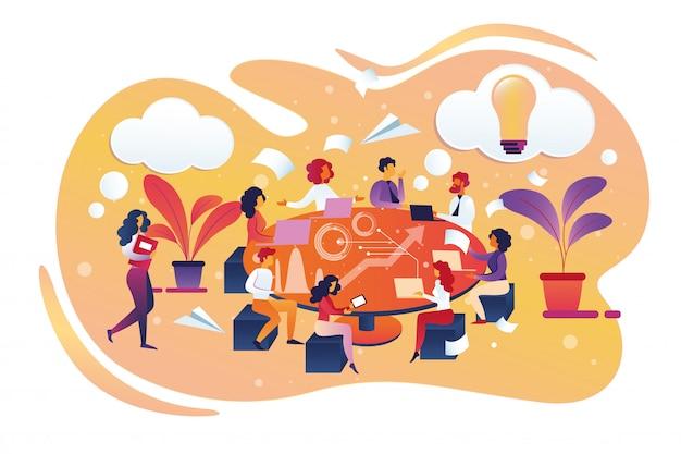 Brainstorming e ricerca di un nuovo concetto di idea. Vettore Premium