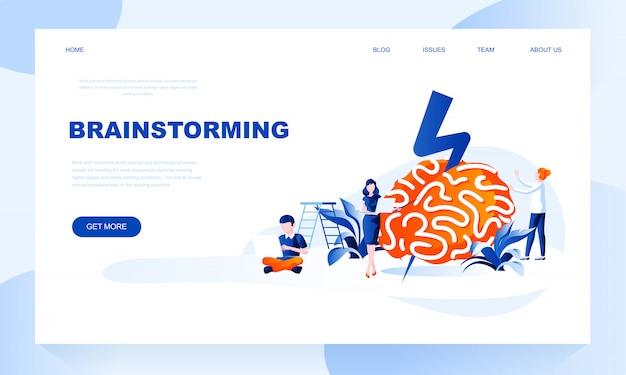 Brainstorming template pagina di destinazione con intestazione Vettore Premium