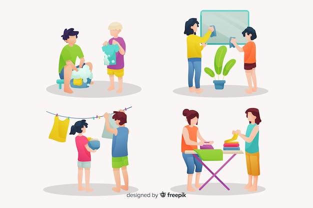 Branco di giovani che fanno i lavori domestici Vettore gratuito