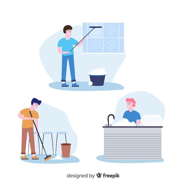 Branco di persone che fanno i lavori domestici Vettore gratuito