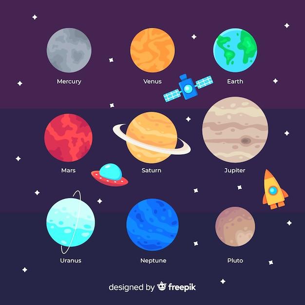 Branco di pianeti colorati nel sistema solare Vettore gratuito