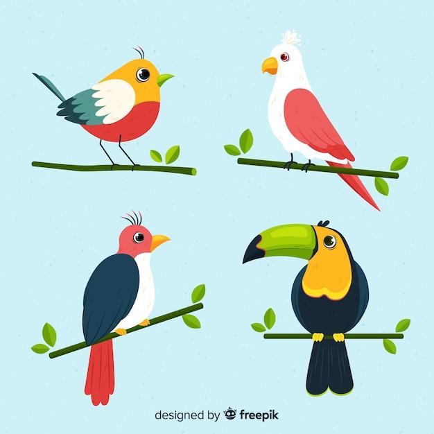 Branco di uccelli disegnati a mano Vettore gratuito