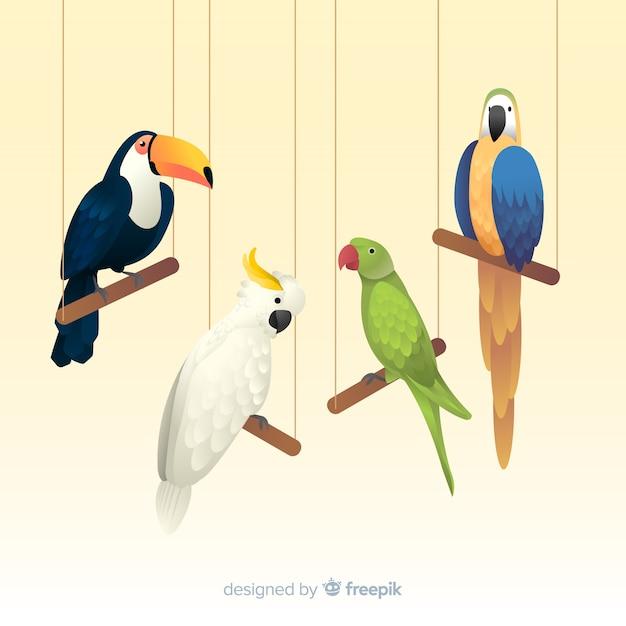 Branco di uccelli realistici stile realistico Vettore gratuito