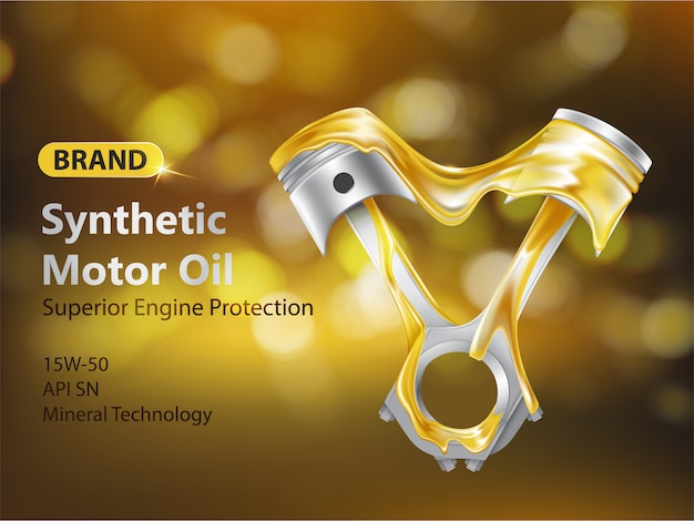 Brand new sintetico olio motore 3d banner pubblicitario realistico con pistoni del motore a combustione interna Vettore gratuito