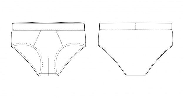Breve schizzo tecnico di biancheria intima isolato. illustrazione vettoriale di mutande da uomo. intimo uomo viste anteriori e posteriori. Vettore Premium