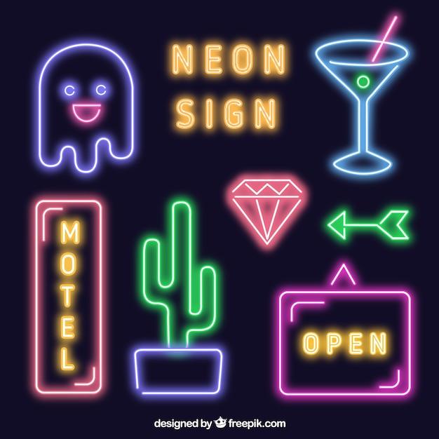 Brillante collezione insegne al neon scaricare vettori for Insegne al neon milano