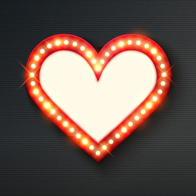 Brillante cornice cuore al neon Vettore Premium