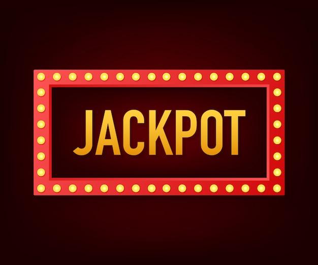 Brillante insegna retrò jackpot banner. banner in stile vintage illustrazione. Vettore Premium