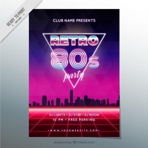 Brochure anni ottanta in stile moderno con silhouette della città Vettore gratuito