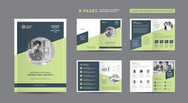 Brochure aziendale di otto pagine | rapporto annuale e profilo aziendale | modello di progettazione libretto e catalogo Vettore Premium