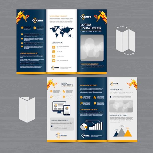 Brochure business tri fold pieghevole volantino disegno vettoriale Vettore Premium