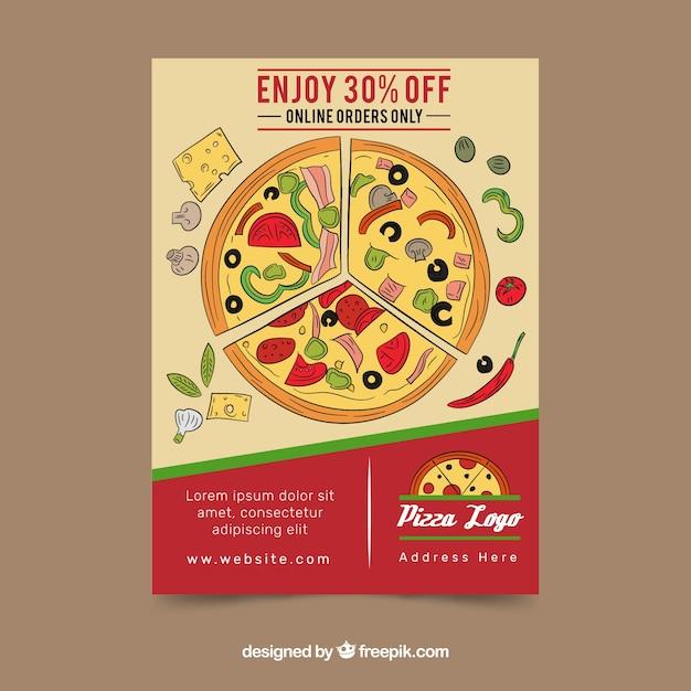 Brochure con pizza a mano disegnata Vettore gratuito