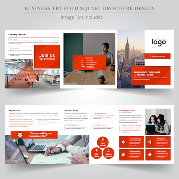 Brochure design trifold quadrato arancione di coporate Vettore Premium