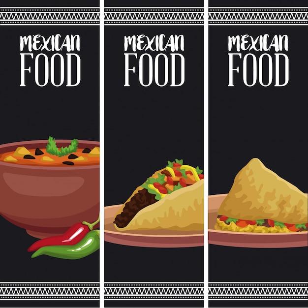 Brochure di cibo messicano Vettore Premium