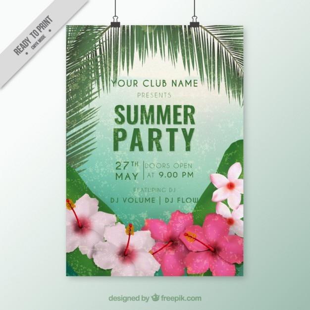 Brochure estate festa con fiori tropicali scaricare