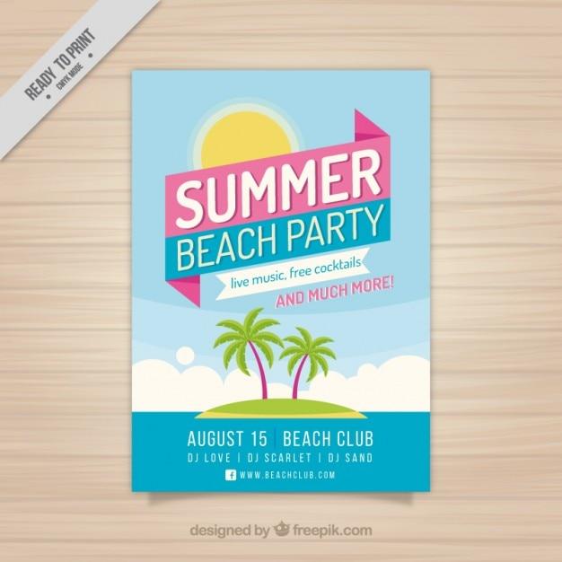 Brochure festa d'estate con l'isola Vettore gratuito
