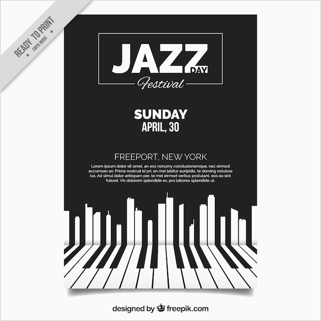 Brochure jazz elegante con tasti di pianoforte Vettore gratuito