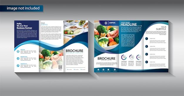 Brochure modello di business a tre ante per il marketing promozionale Vettore Premium