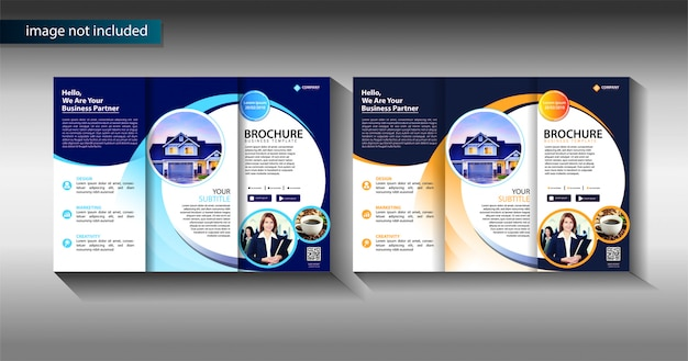 Brochure modello di business trifold per la promozione del marketing Vettore Premium