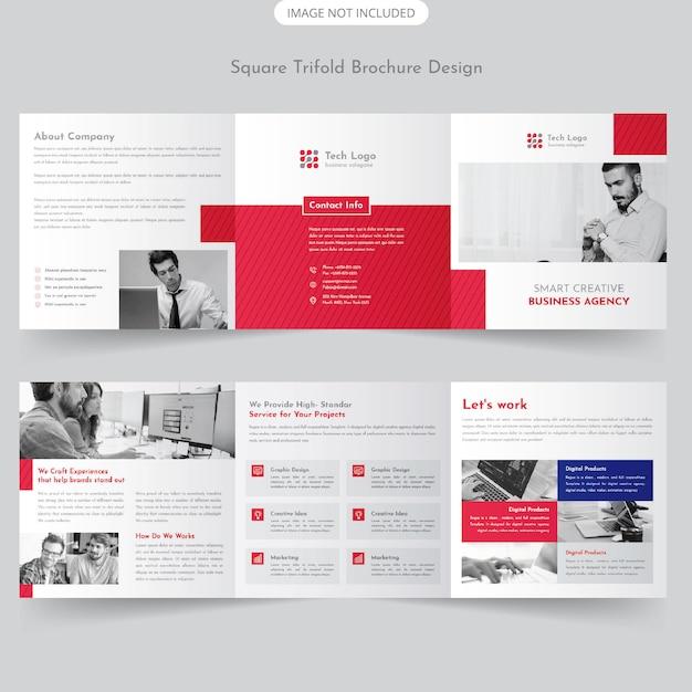 Brochure quadrata a tre colori Vettore Premium