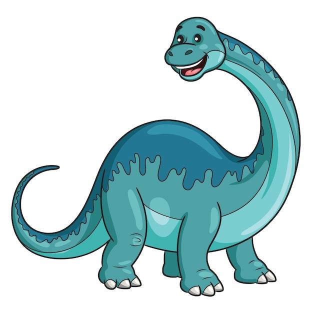 Brontosaurus cartoon Vettore Premium