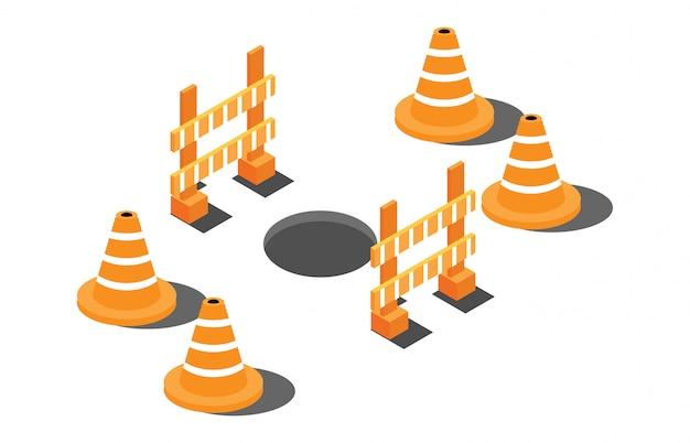 Buco isometrica su una strada con segnali di pericolo Vettore Premium