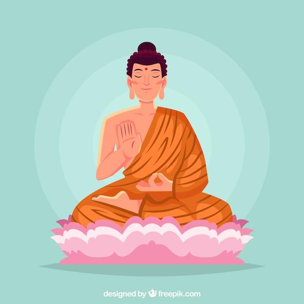Budda sorridente con design piatto Vettore gratuito
