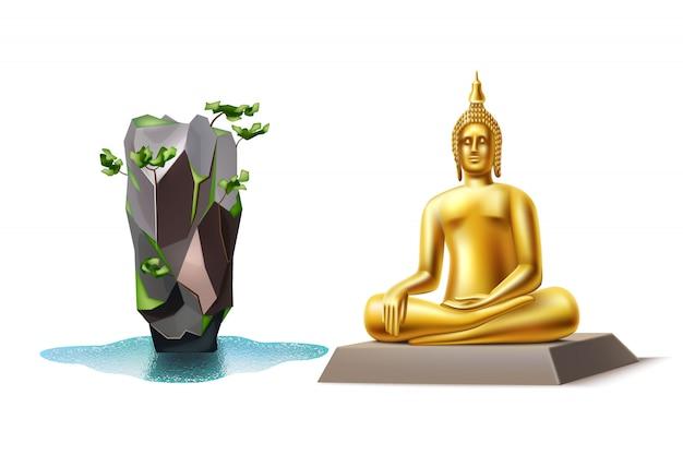Buddha dorato realistico e punto di riferimento tailandia dell'isola di legame Vettore Premium