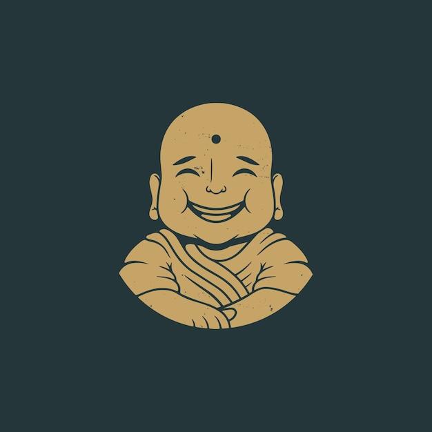 Buddha sorriso logo design vintage Vettore Premium