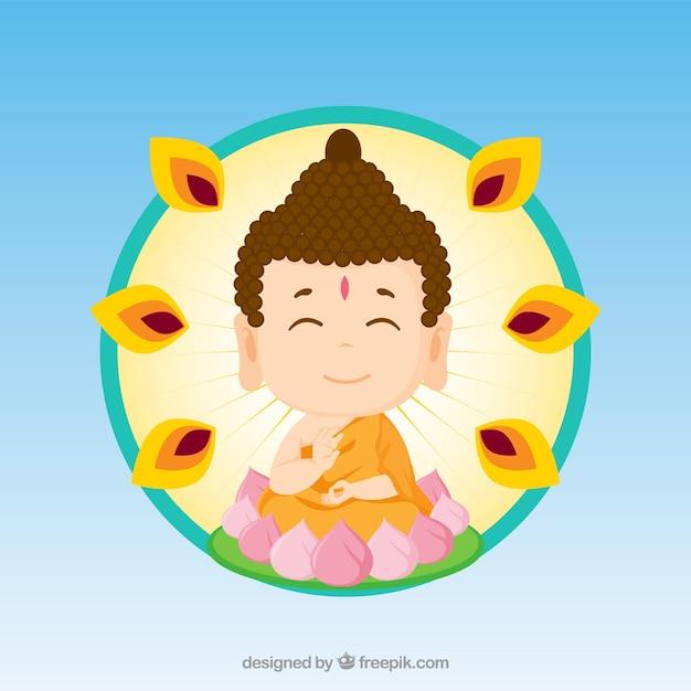 Budha colorato con design piatto Vettore gratuito