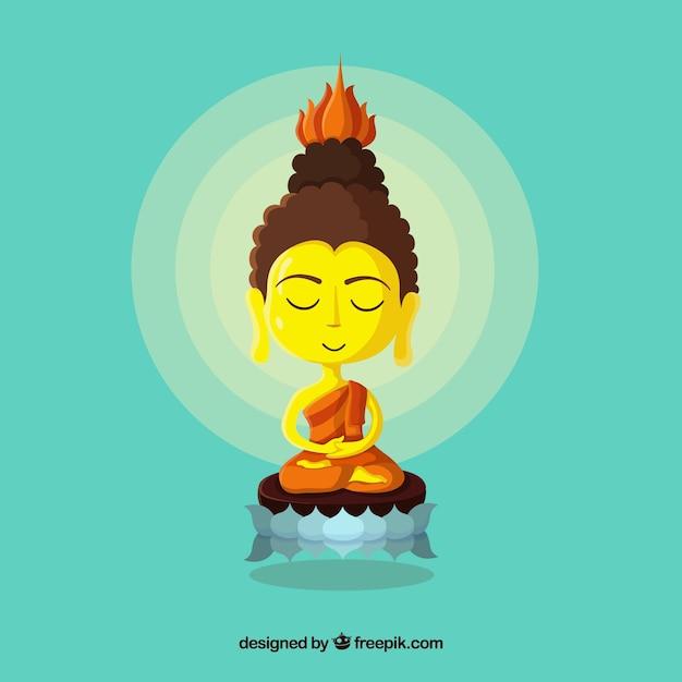Budha d'oro con design piatto Vettore gratuito