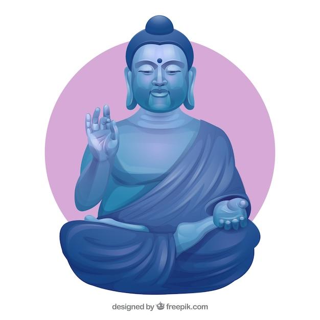 Budha di pietra con design piatto Vettore gratuito