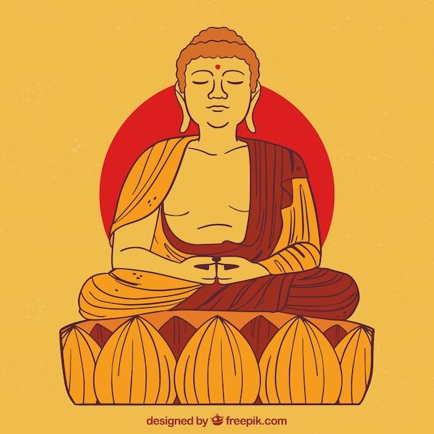 Budha disegnato a mano con stile colorato Vettore gratuito