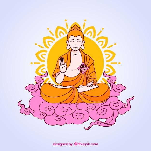 Budha incantevole con design piatto Vettore gratuito