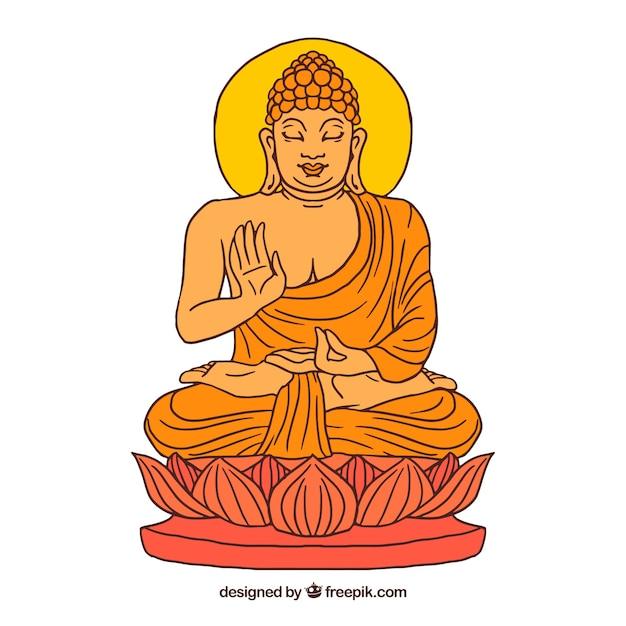 Budha tradizionale con stile disegnato a mano Vettore gratuito