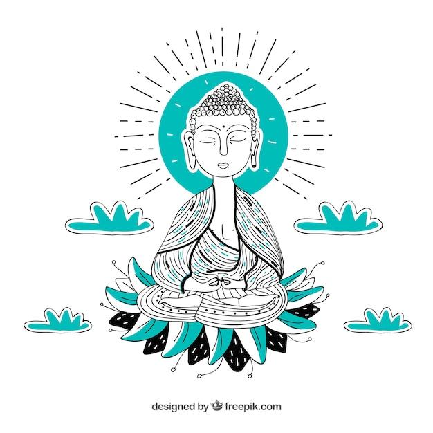 Budha tradizionale disegnato a mano Vettore gratuito
