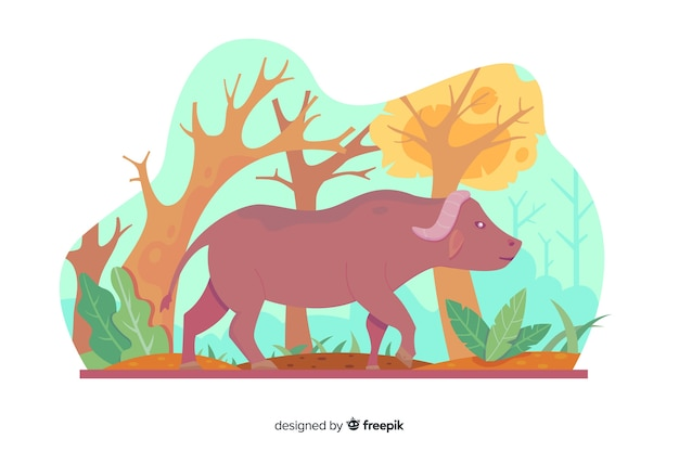 Buffalo cartoon nella natura Vettore gratuito