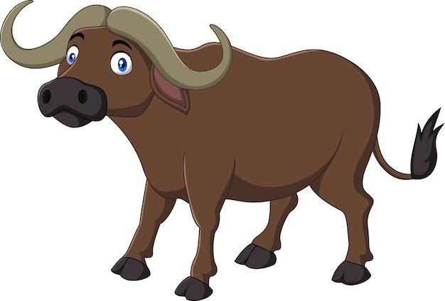 Buffalo del fumetto isolata su fondo bianco Vettore Premium