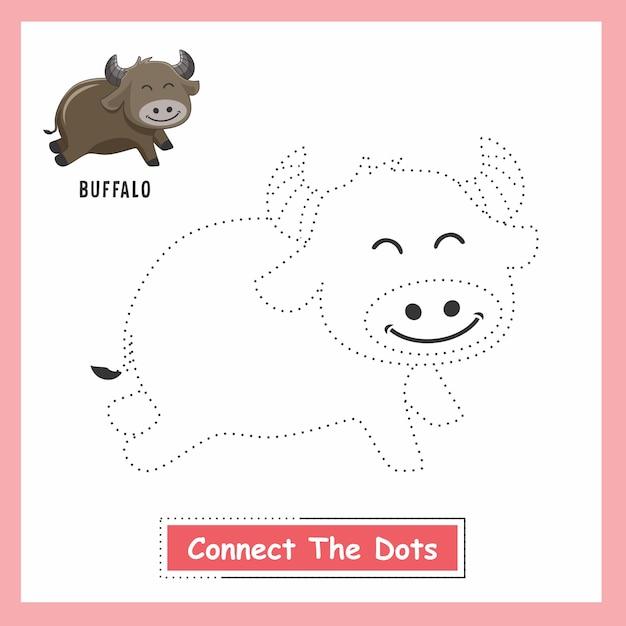Buffalo draw connect the dots Vettore Premium
