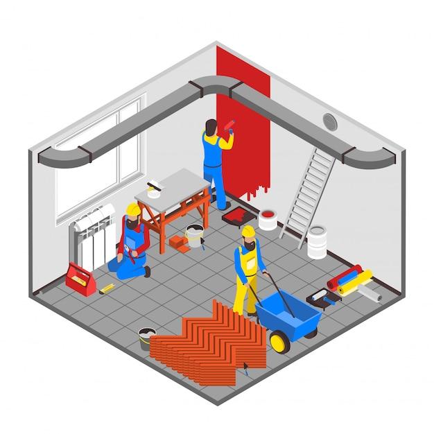 Builder people concept Vettore gratuito