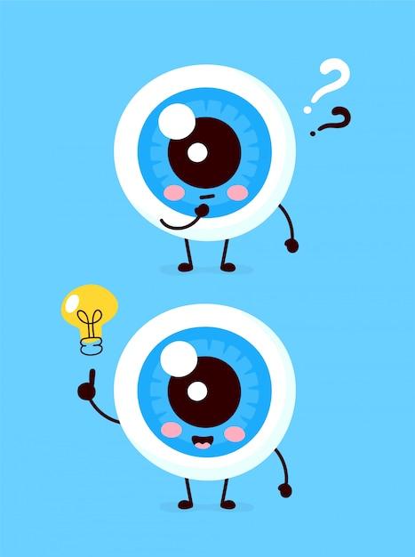 Bulbo oculare carino con punto interrogativo e carattere lampadina. icona illustrazione piatto personaggio dei cartoni animati. isolato su bianco l'occhio ha idea Vettore Premium