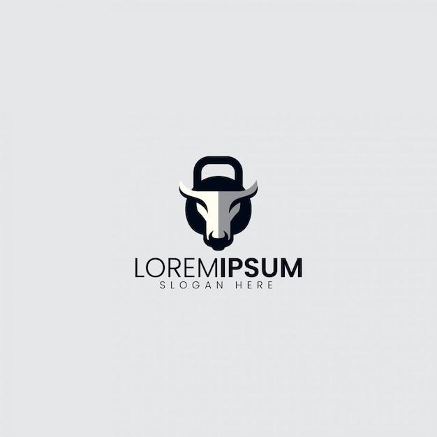 Bull logo sport Vettore Premium