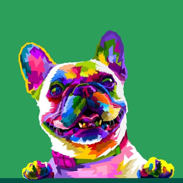 Bulldog francese nei colori pop art isolato su sfondo verde Vettore Premium