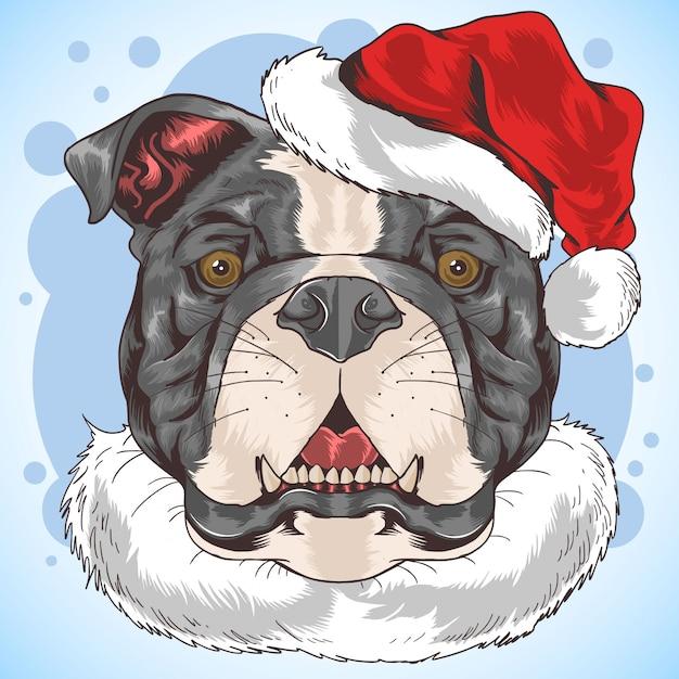 Bulldog pit bull dog santa claus Vettore Premium